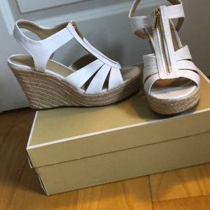 White Michael Kors size 10 wedges never worn w/box